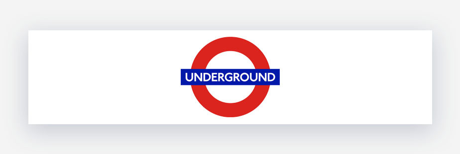 london underground logo red roundel with blue stripe and white text