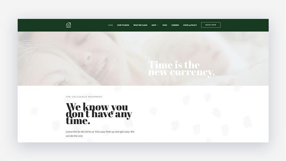 Go Clean Go homepage service branding example