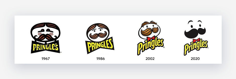 different versions of the Pringles logo from 1967 to 2020