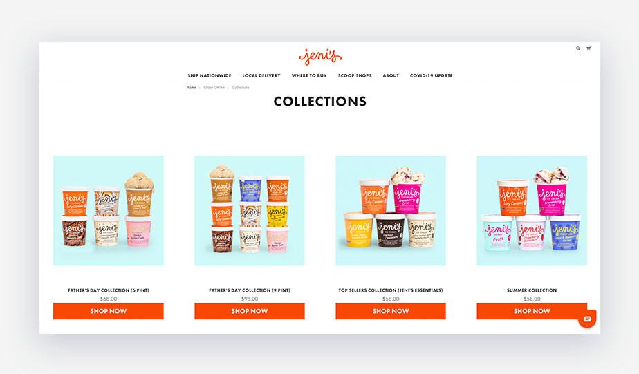 screenshot of Jeni's ice cream product branding