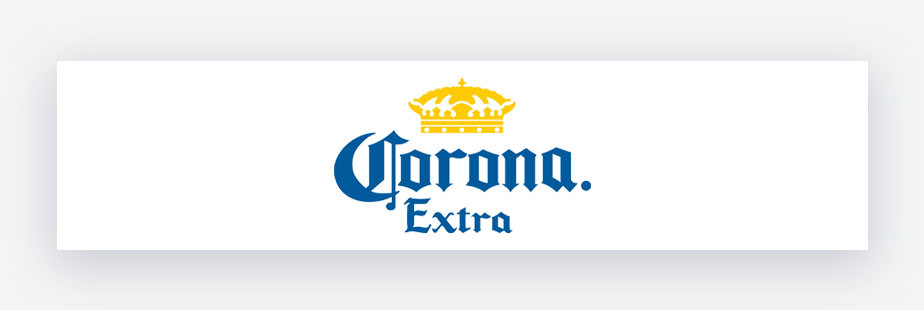 Corona Extra Beer logo blue text with yellow crown
