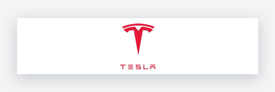 Tesla logo in red