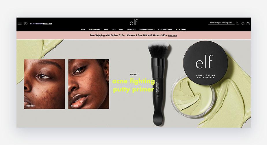 e.l.f. cosmetics home page corporate branding