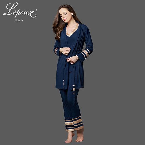 Lepoux 優雅睡衣連睡袍套裝 (藍色)