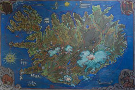 Málað Íslandskort með ferðum Guðmundar um landið fram til 1956. Painted map with various tours and expeditions made by GE - until 1956.