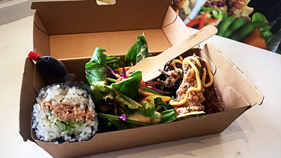 Grab & Go lunch Bento Box- Nori roll, salad with a choice of hot food!