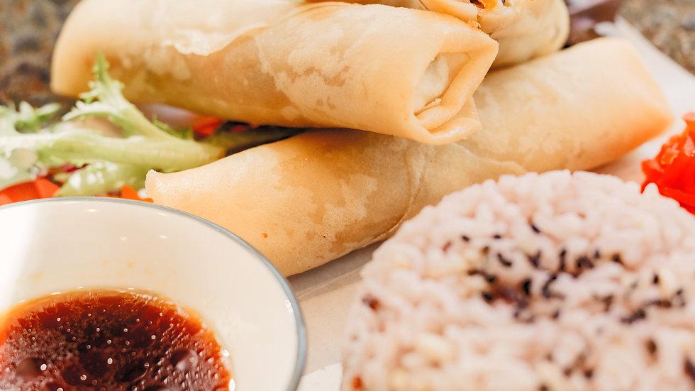 Harumaki spring rolls - 3 pcs with rice