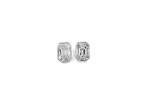 Pie-Cut Emerald Diamond Bezel Set Simple Earring