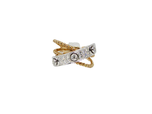 Overlapping Three Bezel Set Round Diamonds Filled Fat Band Ring