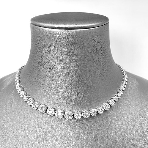 Pie-Cut Round Diamond Prong Set Simple Full Necklace