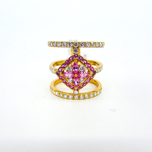 Three Layered Pink Sapphire Fire Centre Ring