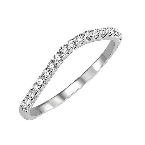 Upside U-Shaped Half Diamond-Filled White Gold Wedding Band