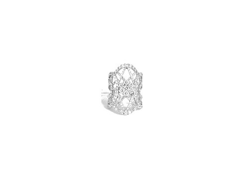 Round Illusion Prong Set Long Three Fancy Sides Diamond Filled Four Band Ring