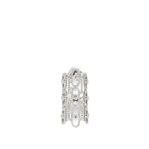 Nine Round Illusion Prong Set Long Oval Diamond Filled Attached-Oval Band Ring