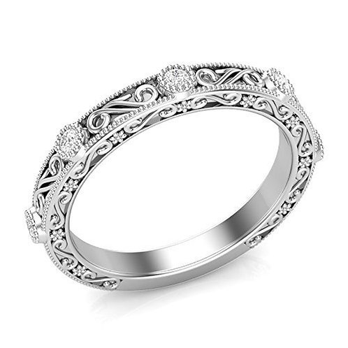 Vintage Carved Style White Gold Wedding Band