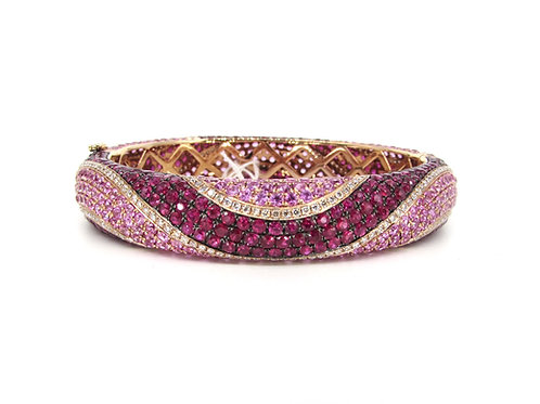 Pink and Red Sapphires Waves Hard Bangle