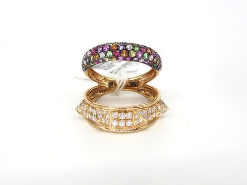 Colorful Pave Set Layer with A Spiked Diamond Studded Layer Ring