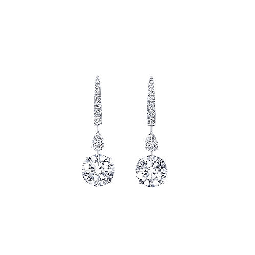 Pie-Cut Round Diamond Prong Set Short Dangling Fancy Shape Earrings