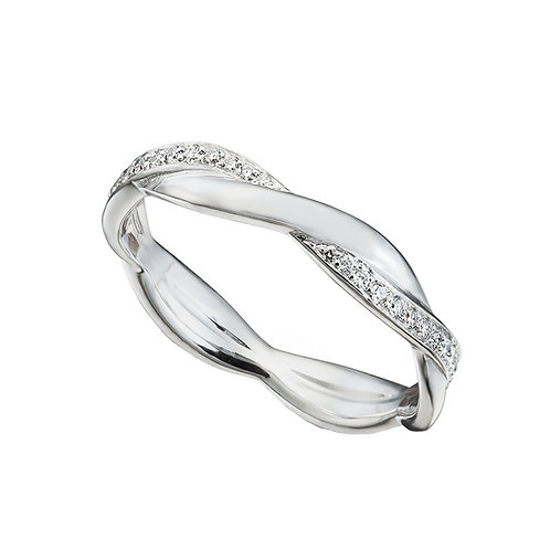 Wavy Criss-Cross Semi Filled White Gold Wedding Band