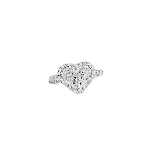 Pie-Cut Heart Diamond Prong Set Halo Wave Band Ring