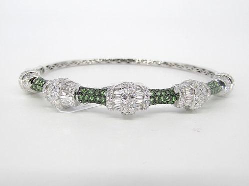 Fancy Shaped Green Sapphire Hard Bangle