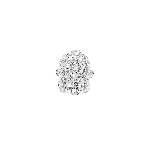 Flowers and Crosses Illusion Set Diamond Filled Triple Band Ring
