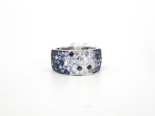 Blue Sapphire Ombre Fat Band Ring