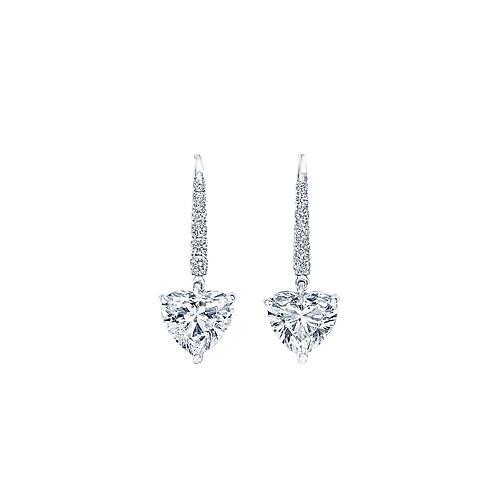Pie-Cut Heart Diamond Prong Set Short Dangling Earrings