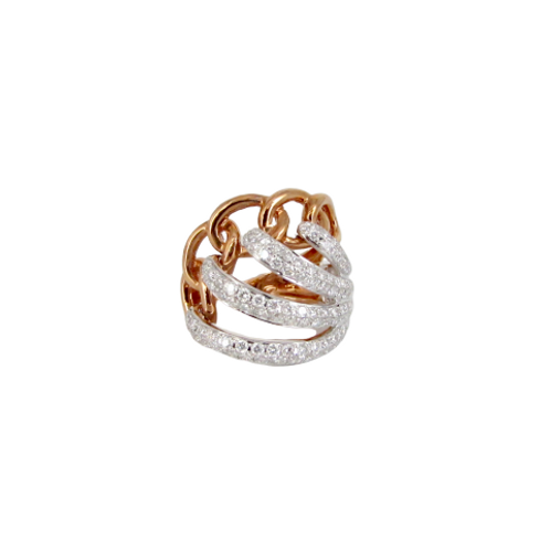 Wave and Chain Style Micro Pave Set Diamond Filled Two-Toned Ring
