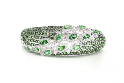 Green Sapphires and Marquise Filled Heavy Bangle