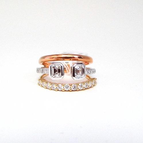 Emerald Bezel Gapped Set Fancy Triple Band Ring