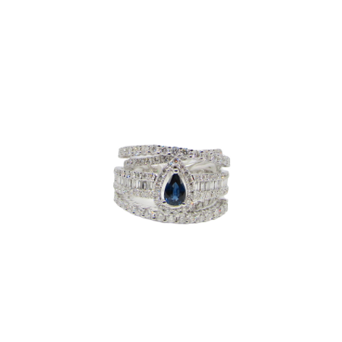 Pear Blue Sapphire Five Layered Baguette Filled Fat Ring