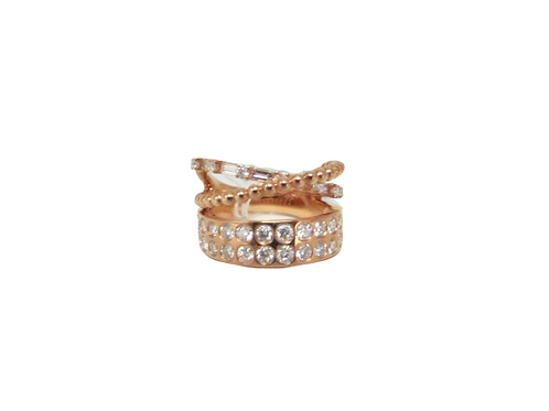 Mix and Match Solid Filled Styled Criss Cross Bands Multi-Shaped Ring
