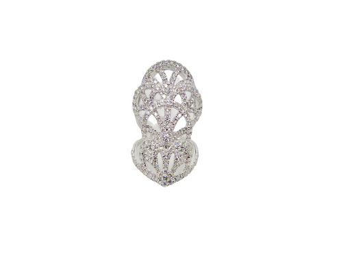 Lotus Stem Shaped Layered Side Gapped Long Ring