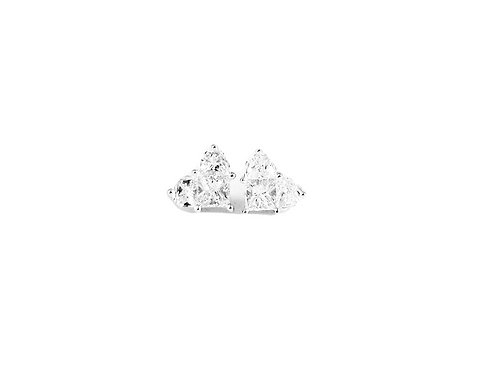 Pie-Cut Heart Diamond Prong Set Simple Earring