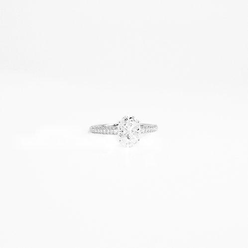 Pie-Cut Oval Diamond Prong Set Micro Pave Diamond Band Ring