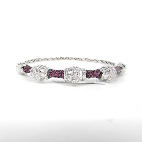 Fancy Shaped Pink Sapphire Hard Bangle