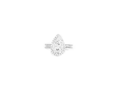 Pie-Cut Pear Diamond Prong Set Halo Double Band Ring