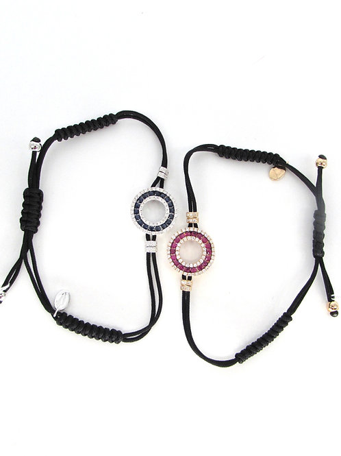 Blue/Red Sapphire Simple Halo Circle Bracelet