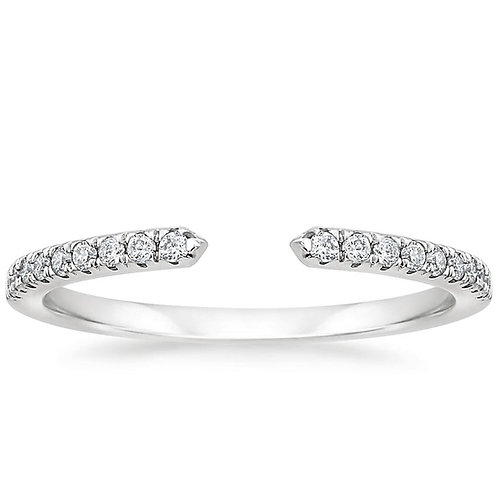 Open Circle Diamond Filled White Gold Wedding Band