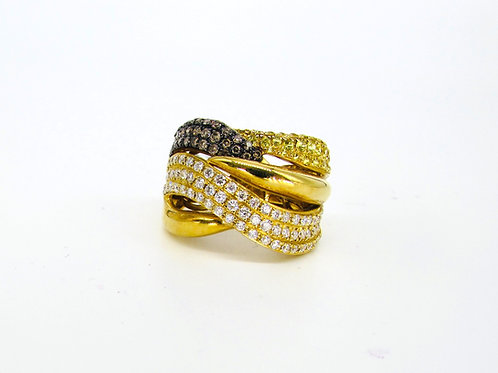 Wavy Five Layered Triple Coloured Gold and Diamond Filled Fat Ring