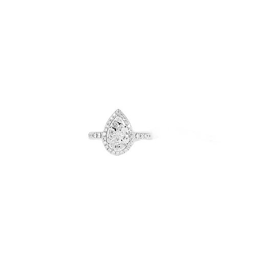 Pie-Cut Pear Diamond Prong Set Halo Simple Band Ring