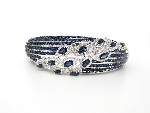 Blue Sapphires and Marquise Filled Heavy Bangle