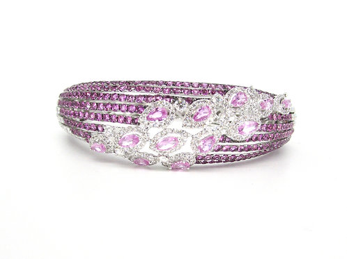Pink Sapphires and Marquise Filled Heavy Bangle