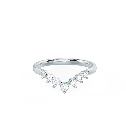 Fancy U-Shaped Diamond Front White Gold Wedding Band