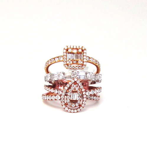 Seven Shapes Illusion Prong Set Three Tone and Layer Fancy Band Ring