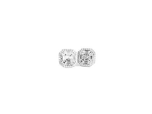 Pie-Cut Asscher Diamond Prong Set Halo Earring