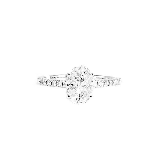 Pie-Cut Oval Diamond Prong Set Simple Band Ring