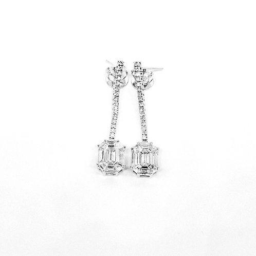 Pie-Cut Emerald Diamond Prong Set Long Diamond-Filled Earring