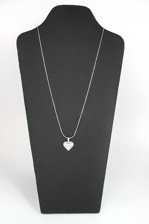 Pie-Cut Heart Diamond Prong Set Halo Pendant